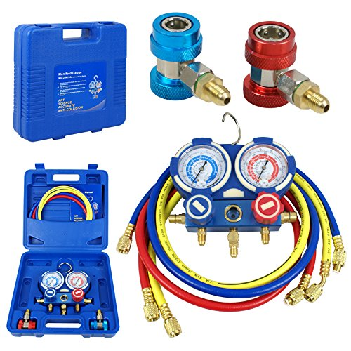 Refrigeration Kit Brass 5FT Colored Hose with Case A//C Manifold Gauge Set R134A New