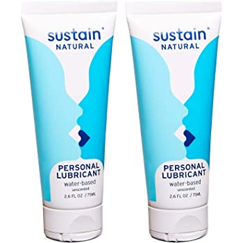 Sustain Natural Organic Lubricant - Water Based Lubricant for Women - pH Balanced - Paraben Free - Unscented - 2 Pack