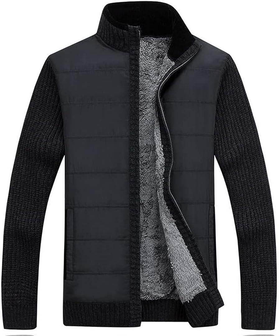 Men Clothes Winter Cardigan Sweater Jacket Stand Collar Cardigan Thicken Fleece Knitting Coats