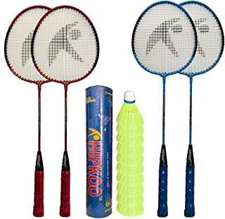 Hipkoo Sports Main Badminton Complete Set with 4 Rackets and Shuttlecock 10 pcs