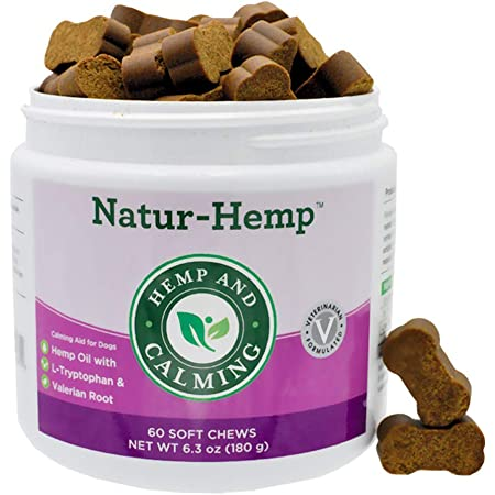 Green Pet Organics Natur-Hemp Calming Soft Chews for Dogs, Natural Treats with Hemp Oil, Tryptophan, Valerian Root, & Chamomile, Anxiety Relief, Stress Relief for Dogs, 60 Soft Chews, 6.3 oz