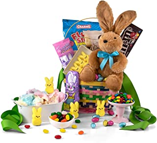 Premade Easter Basket Delivered with Plush Bunny Rabbit, Easter Chocolate, and Easter Candy as an Easter Gift for Kids, Teens & Adults