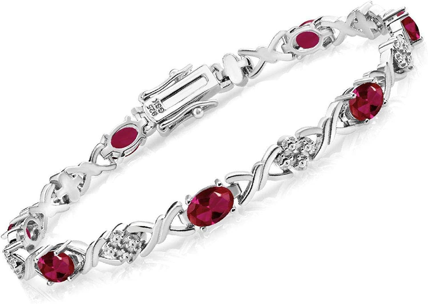 Gem Houston Mall Stone King 925 Sterling Silver 7 Manufacturer direct delivery Created Ruby Tenni Red Inch