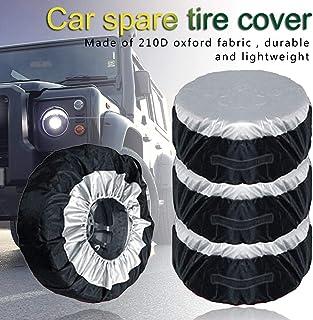 DULALA Car SUV Car Tire Cover per Pneumatici 17 Pollici Copriruota di scorta Protezione Solare in Pelle Impermeabile