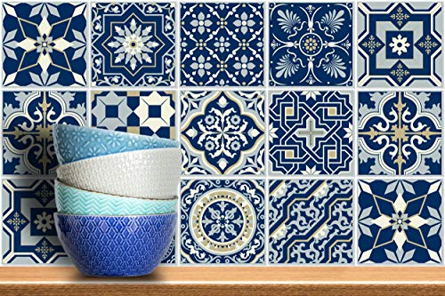 IRI-GIRI 12 PC Pack (6 X 6) Art Eclectic Peel and Stick Wall Sticky Backsplash Vinyl Waterproof Removable Tile Sticker Decals for Bathroom & Kitchen, 6x6 Inch, Royal Blue 1274-6-IG