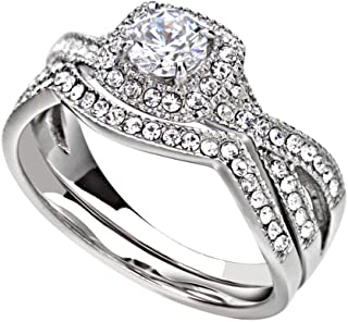 Tungsten King Stainless Steel 0.46 Carats AAA Clear Round Cut Cubic Zirconia with Cushion Halo...