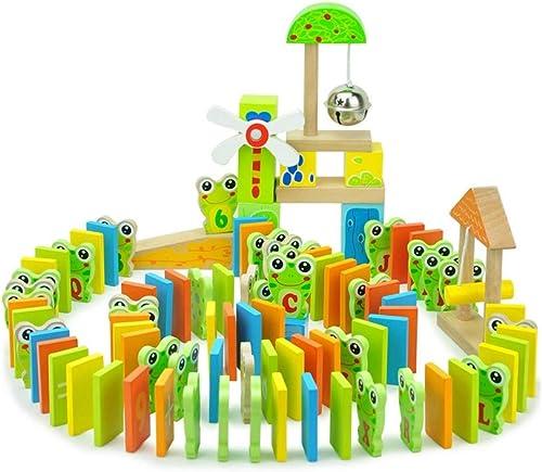 LINGLING-Domino Karikatur-Frosch-Form-Domino-Bausteine  it Organ-p gogischen Spielwaren in 3 Jahren alt (Farbe   Bunte)