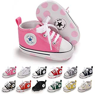 Mamamiya Baby Girl Walking Shoes,V-Striped Velcro Switch,PU Leather Crib Sneaker,Soft Sole Tennis Shoes for 0-18 Months Infant//Toddler//Little Kid