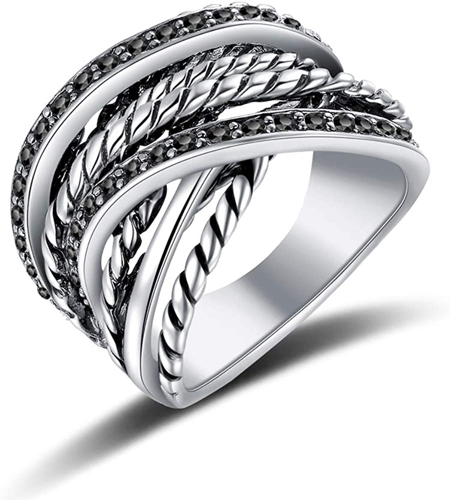 Mytys Vintage Rings for Women Black Marcasite Stone Statement Chunky Rings for Women with Intertwined Cable Wire