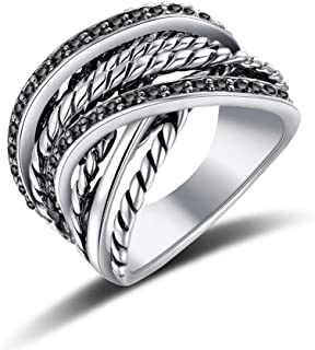 Vintage Fashion White Crystals Black Marcasites Stone Pave Statement Ring Interwined Cable Wire Band Chunky Rings Enhancers for Women Men Silver/Gold Plated
