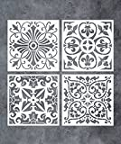 GSS Designs Pack of 4 Stencils Set (8x8 Inch) Tile Stencil Painting On Floor Tiles Wall Fabric Wood Furniture - Laser Cut Reusable Stencils (SL-018M)