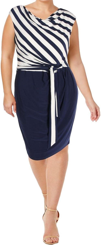 Lauren Ralph Lauren Womens Striped Tie Waist Party Dress