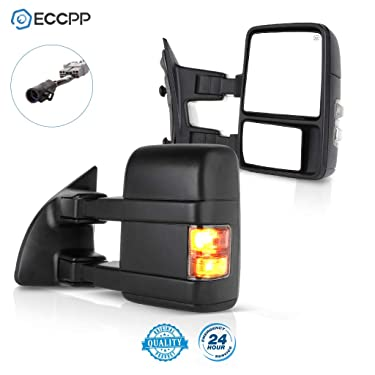 ECCPP Towing Mirror by Side Mirror Replacement for 1999-2007 for Ford F250 F350 F450 F550 Super Duty with Power Heated Smoke Turn Signal Telescopic