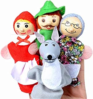 CARDEON 4PCS/Set Little Red Riding Hood Christmas Animal Finger Puppet toy Educational Toys Storytelling Doll