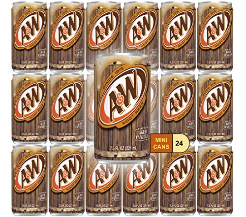 A&W Root Beer Mini Soda Cans, 7.5 oz Soft Drinks Bulk Snacks Pack, Small Refrigerator & Snack Pantry Drink 24 Count Beverage Bedroom & Kitchen Supplies