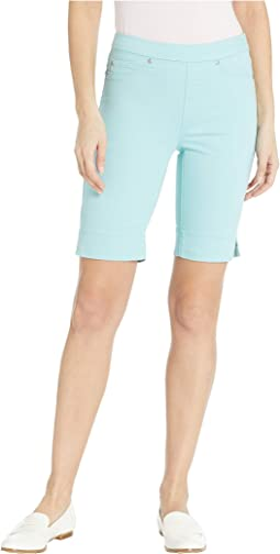 Soft Touch Denim Pull-On Bermuda w/ Side Slit in Ocean Wave