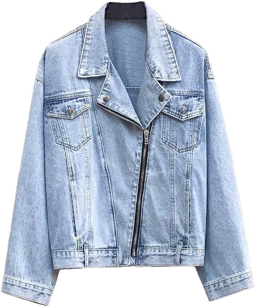 SCOFEEL Women's Denim Jacket Casual Vintage Long Sleeve Zipper Jean Jacket Coat