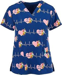 RJDJ home Scrub Tops for Womens Cartoon Pattern Nursing Working Uniform V-Neck Short Sleeve T-Shirts Nursing Blouse Pockets