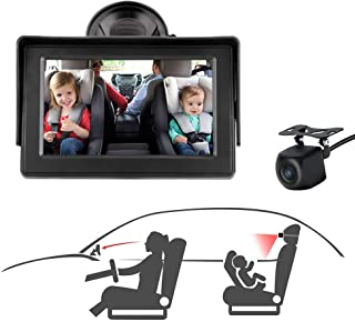Baby Car Mirror, Baby Car Seat Mirror Camera Monitored Mirror 4.3'' HD Night Vision with Wide View Angle, Aimed at Baby,Mi...