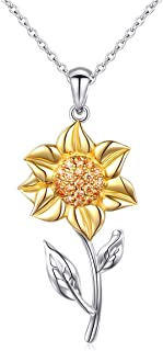 S925 Sterling Silver Sunflower with CZ Pendant Necklace or Ring Earrings Bracelet Jewelry for Women 18