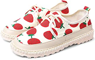 AUCDK Women Canvas Shoes Strawberry Printed Lace Up Sneakers Low Top Casual Flat Plimsolls Lightweight Trainers