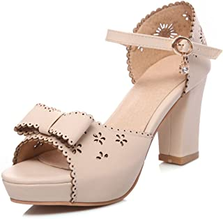 Big Size 33-43 Sweet Bow Lace Edge Summer Sandals Shoes Woman Trendy High Heels Date
