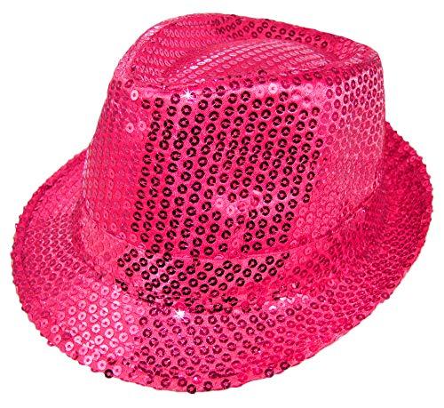 Das Kostümland Glitzernder Popstar Hut mit Pailletten - Pink