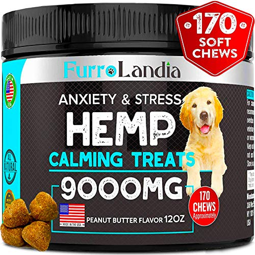 FurroLandia Hemp Calming Treats for Dogs - 170 Soft Chews - Made in USA - Hemp Oil for Dogs - Dog Anxiety Relief - Natural Calming Aid - Stress - Fireworks - Storms - Aggressive Behavior