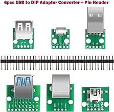Aokin 6pcs USB to DIP Adapter Converter, Mini USB Female, Micro USB Female, 2.54mm 4p USB Male, USB 2.0 USB 3.0 Female, USB Type B Square Interface Female to DIP PCB Power Breakout Board Module