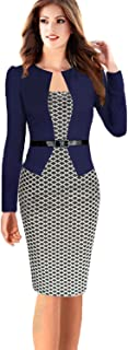 Babyonline Women Colorblock Wear to Work Business Party Bodycon One-Piece Dress