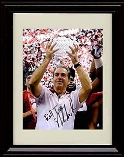 Framed Nick Saban Autograph Replica Print - Alabama Crimson Tide- Championship Trophy