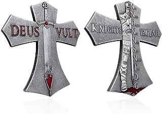 AtSKnSK Armor of God Challenge Coin Knights Templar Cross Coins - Antique Sliver Finish