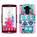 For LG G Stylo LS770 / LG Stylus H631 / ITUFFY 3items: Screen Protector Film+Stylus Pen+Dual Layer Impact Resistance Plastic Cover Soft Rubber Silicone KickStand Hybrid Case (Pink Aztec Flower) -  Snaponcase