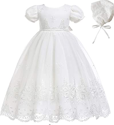 d2d43b903 AHAHA Baby Girls Long Christening Gowns Special Occasion Dresses Baptism  Formal Dress with Hat