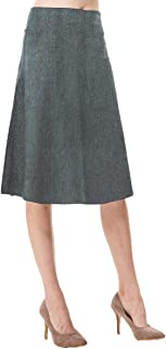 Women's High Waist A-line Below The Knee Flared Midi Skirt Stretch Woven and Suede