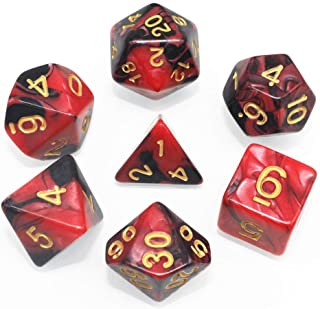 HD DND Dice Set RPG Red & Black Polyhedral Dice Fit Dungeons and Dragons(D&D) Pathfinder MTG Tabletop Role Playing Dice with Dice Pouch