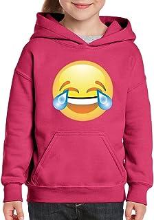 Emoji Sonriente lágrimas Unisex Sudadera con Capucha para niñas y niños jóvenes Sudadera
