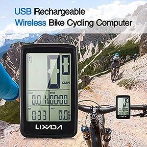 Lixada Velocímetro de Bicicleta USB Recargable Inalámbrico Cuentakilómetros Ciclocomputador Accesorio para Bicicleta