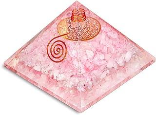PREK Rose Quartz orgone Pyramid with Metal Flower pof Life symbolchakra Balancing Size 2.5-3 inch
