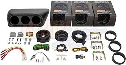 GlowShift Gauge Package for 2002-2007 Subaru Impreza WRX STI - Tinted 7 Color 30 PSI Boost/Vacuum, 100 PSI Oil Pressure & 300 F Oil Temperature Gauges - Clock Replacement Black Triple Dashboard Pod