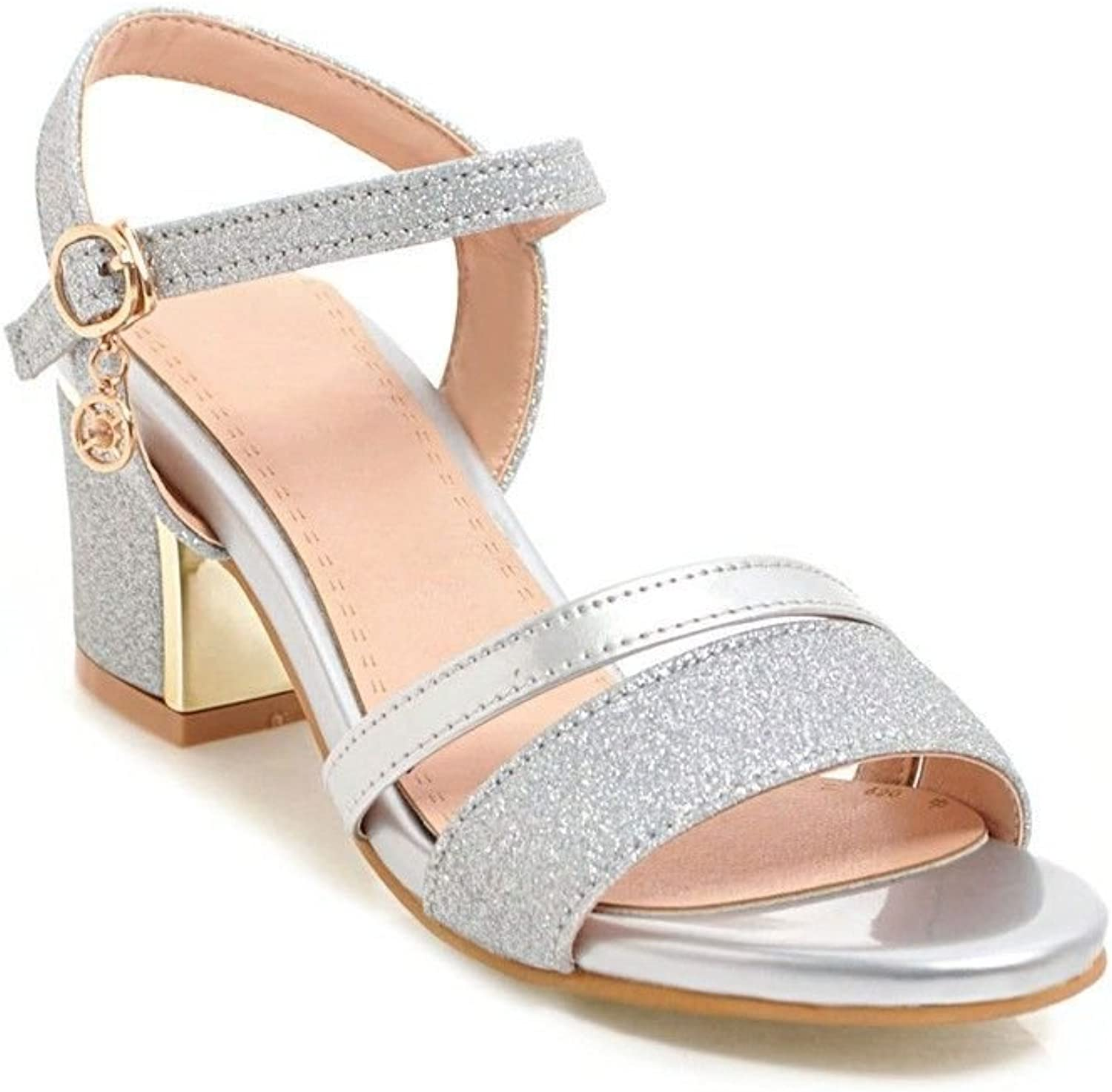 Bold and Stylish Buckle Round Head, high-Heeled Sandals