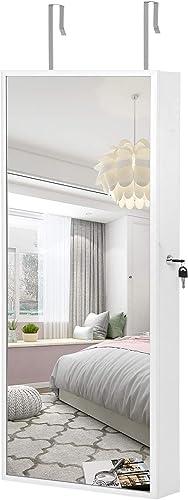 SONGMICS Armoire à Bijoux Suspendue, Armoire Murale avec Lampes à LED intérieures, Organiseur à Bijoux avec Long Miro...