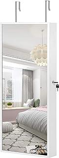 SONGMICS Armoire à Bijoux Suspendue, Armoire Murale avec Lampes à LED intérieures, Organiseur à Bijoux avec Long Miroir, M...