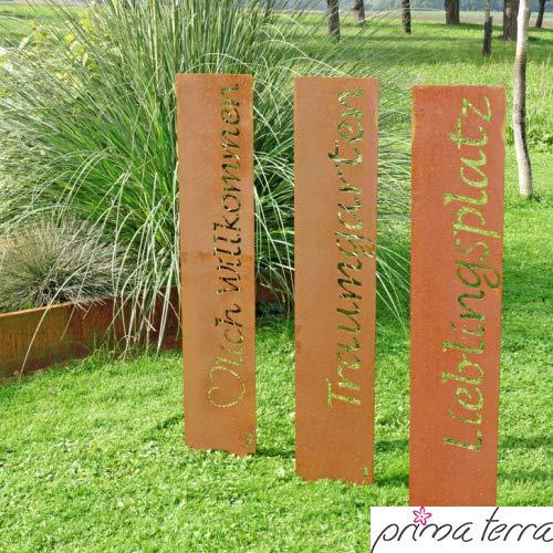 "prima terra ""Lieblingsplatz"" Gartenstele Edelrost Stele Dekoration Gartendekoration Deko Garten H=120cm B=20cm - 2"