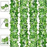Boic Plantas Hiedra Artificial Decoración Exterior Colgante 84ft-12 Guirnalda Hiedra Artificial Vine Follaje Hojas Verdes Flores para Hogar Boda Escalera Ventana Balcón Valla Jardín Mesa Fiesta