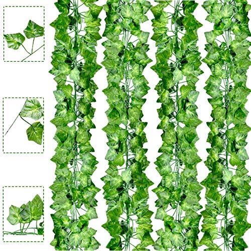 Boic Plantas Hiedra Artificial, Plantas Colgantes Artificiales Guirnalda Reutilizable Decoración de Pared para Hogar, Cocina, Jardín, Fiesta - 2m (12pcs)