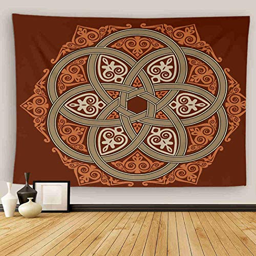 Uoopati Old Rosette Tapestry Wall Hanging Celtic Old Rosette Interweaving Circle Irish Cross Tribal Wall Art Tapestries Tapestry for Bedroom Room Decor Picnic Mat Beach Bed Cover 28'x37'