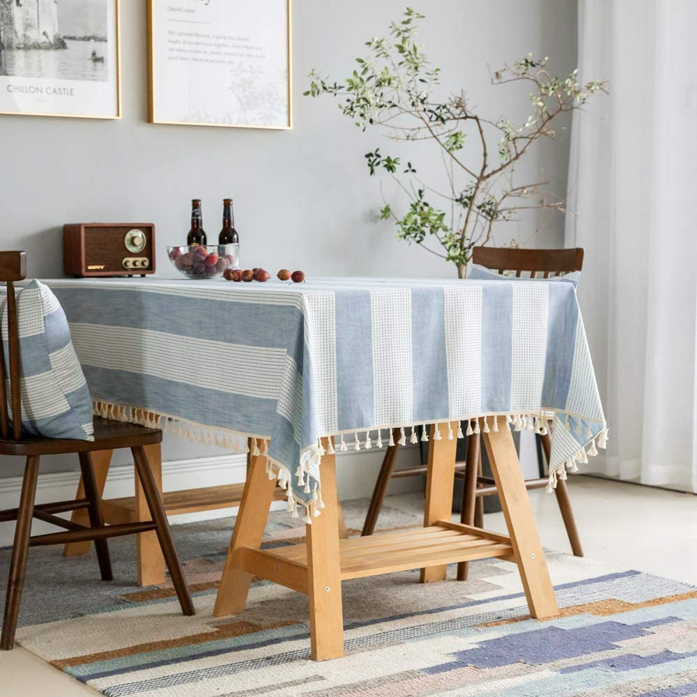 Enova Home Rectangular Cotton and Linen Tablecloth with Tassels Dust Proof Table Cover for Kitchen Dinning Tabletop Decoration (Blue, 54