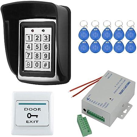 Lector de Tarjetas Acceso a la Puerta 2000 Usuario Teclado de Acceso 125KHz OWSOO Control de Acceso RFID Impermeable Cubierta Exterior 10PCS Llaveros