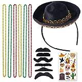 Beelittle Cinco De Mayo Fiesta Tela y Sombrero de Paja Diademas Collar de Cadena de Frijoles Festivales Mexicanos Fiesta de cumpleaños Favores Suministros Decoraciones (Set B)